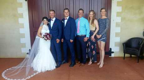 HAPPY DAYS: Luke with his siblings and new sister in law: Natalia, Nathan, Luke, Jon, Katie and Amie Reinbott.