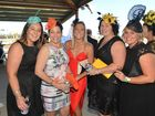 TRACKSIDE: Larisa Frohloft, Erin Evans, Felicity McIntyre, Rachelle Phillips and Jade Wendt at the Thabeban Park Ulton Race Day. Photo: Paul Donaldson / NewsMail