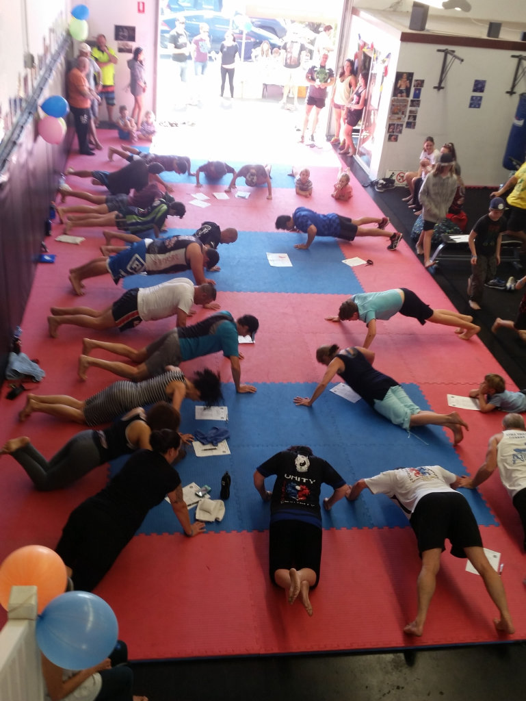 Bench Press and Pushups for Inner Peace - participants get involved with 22 sets of 22 pushups.