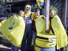 Bauple minions (l-r) MC Mary Liddell, Merv McGuinness, Bauple Recreation Grounds Association president Debbie Brischke and Leanne Phali get into the spirit of this year's Bauple Nut Fest on Saturday.