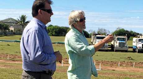 Member for Burnett Stephen Bennett with property developer John Callahan at the site of the Rules Beach resort.