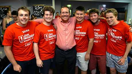 HELPER: Ipswich West MP Jim Madden with the Young Labor team including Wyatt Cook-Revell (third from right) after his state election victory.