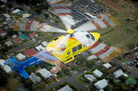 The RACQ LifeFlight rescue helicopter in action.