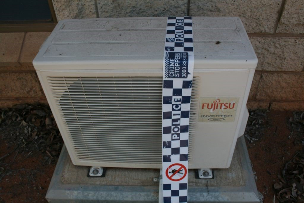 Fujitsu 2.5KW (model: AOTR09LCC) air-conditioner units have been stolen from an unoccupied work camp on Belyando Avenue, Moranbah