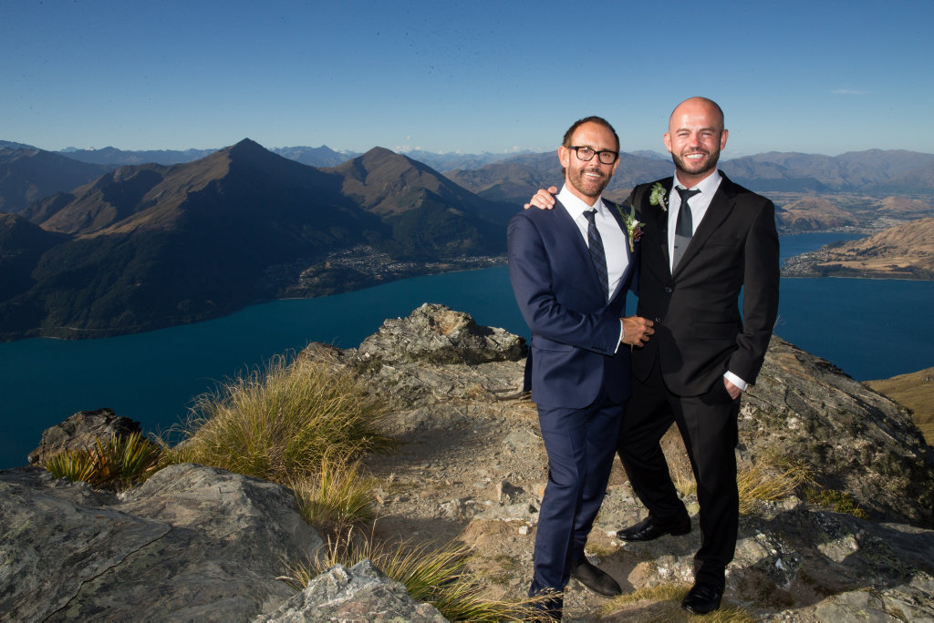 Craig and Andy pictured during their wedding in New Zealand in a scene from Married At First Sight.