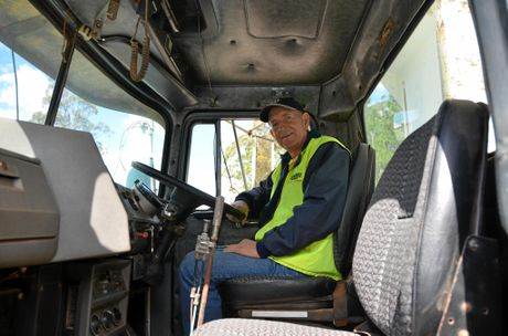 RIGHT AT HOME: Owen behind the wheel of his old Mack, an operator you'd be hard pressed to fault.