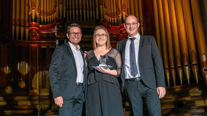 Stevie Jacobs (MC), Pip Smith (Experience Travel & Cruise Toowoomba), David Padman (HLO) - Associate Hero Award