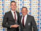TOP PRIZE: Kingaroy's Lane Ferling, with Kevin Walters, was awarded the FOGS Colts Challenge player of the year.