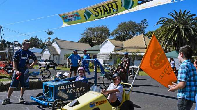 Competitors in the Kyogle Billycart Bonanza wait for the signal as they line up at the start.