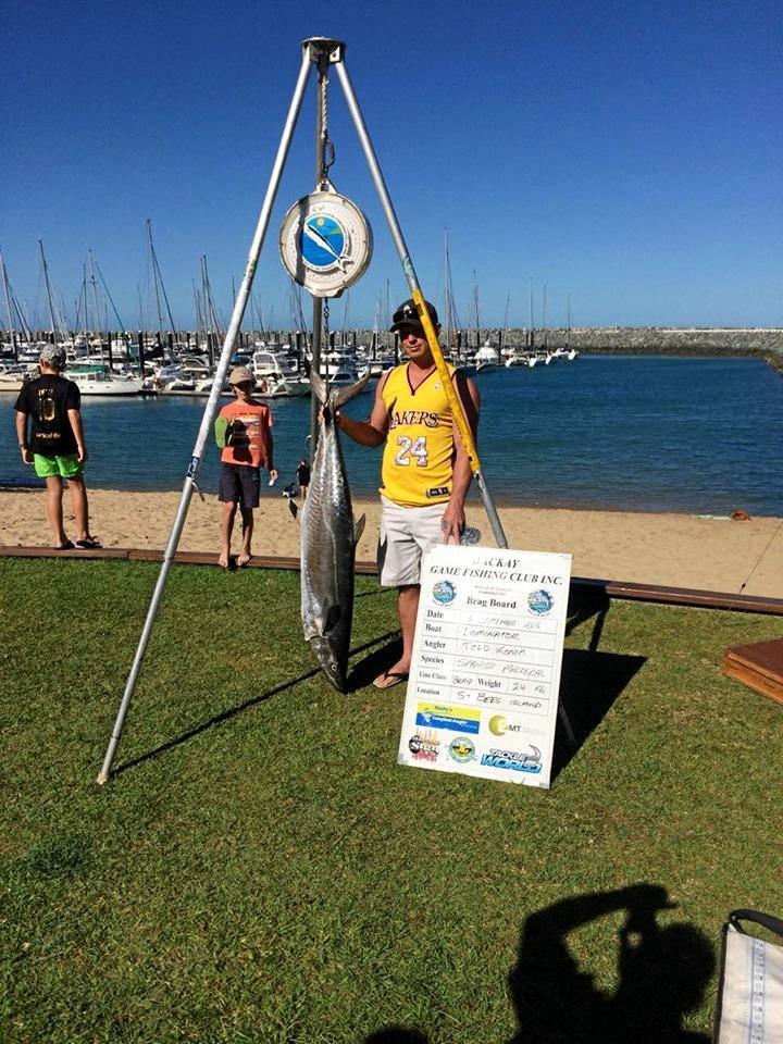 BIG CATCH: Spanish Mackerel Shootout senior winner Todd Konia next to his 24kg fish.