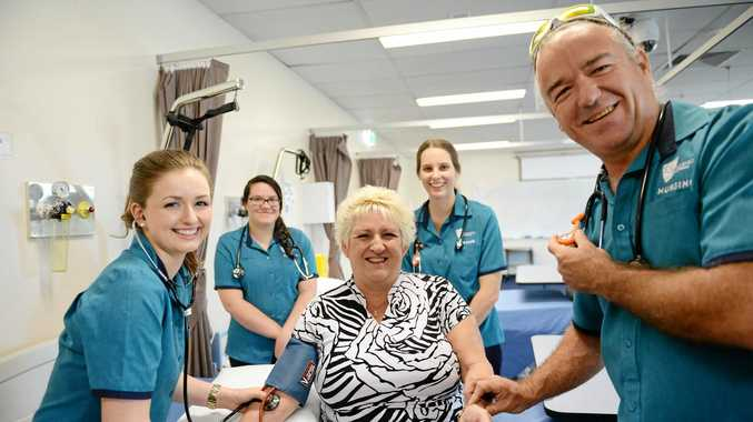 CQU School of Nursing and Midwifery students Phoebe Bickell, Brooke Barnes, Jamie Wincen, and Daniel Sos who will go to Nepal with Michelle Landry.Photo Allan Reinikka / The Morning Bulletin