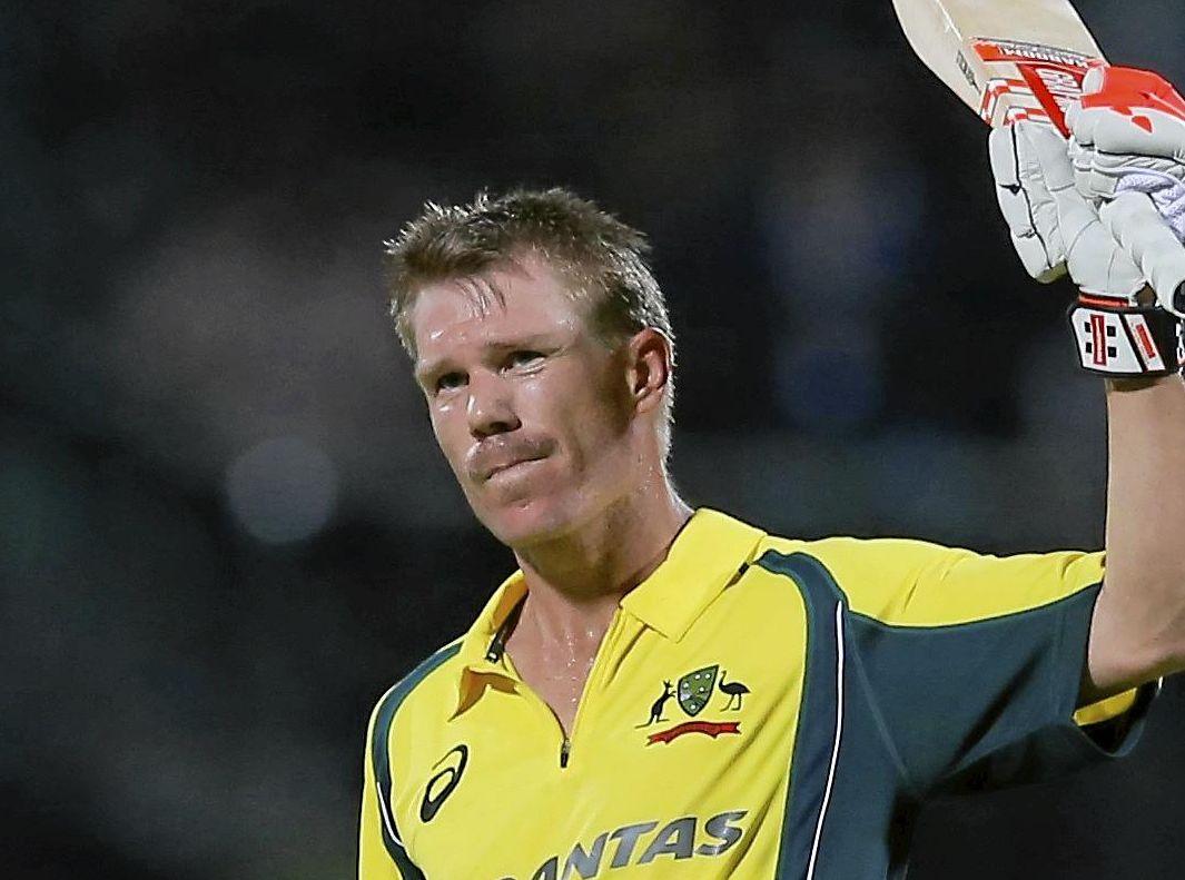 Australia's David Warner celebrates scoring a hundred against Sri Lanka during their fifth one day international cricket match in Pallekele, Sri Lanka.
