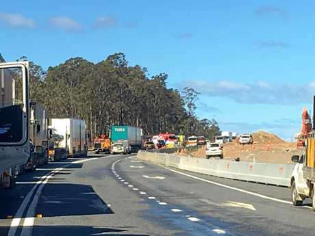 The scene of a serious crash between two trucks on the Pacific Highway at Halfway Creek. Traffic is blocked in both directions.