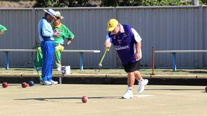 ENJOYING THE GAME: David Johnson has a bowl at the Maroon Arm Bowlers Association's open competition in Laidley.