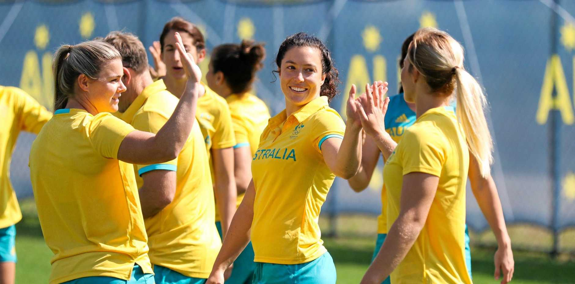 SHE'S BACK: Roma's Emilee Cherry with her Australian rugby sevens teammates at the Rio Olympic Games.