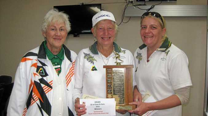 TALENTED PAIRING: Darling Downs Ladies Bowls Association president Elsie Voll (left) Downs representatives Maree Gibbs and Rebecca McIntosh.