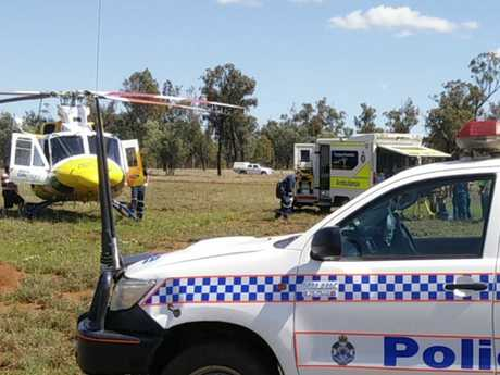 RACQ LifeFlight at the scene of a farm accident on the Darling Downs.