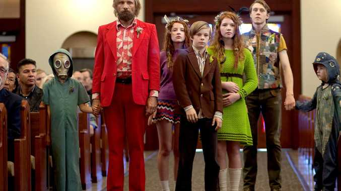 From left, Charlie Shotwell, Viggo Mortensen, Samantha Isler, Nicholas Hamilton, Annalise Basso, George MacKay and Shree Crooks in a scene from Captain Fantastic.