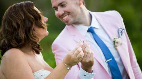 Jess and Dave pictured after their wedding on Married At First Sight.