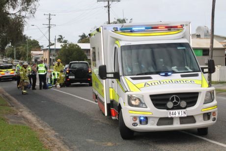 Emergency services at Valley St, where a teenager was involved in a single vehicle incident.