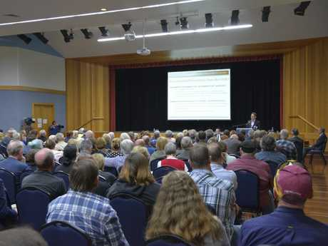 The packed Oakey Cultural Centre on Monday night when the Human Health Risk Assessment report was delivered.