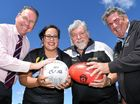 HAVING A BALL: Member for Ipswich Jim Madden, Fernvale Amazons netball president Norma Armstrong-Ravula, Brisbane Rattlers AFL president Graham Smith and Somerset Regional Council mayor Graeme Lehmann at the opening of the Fernvale Sports Park.