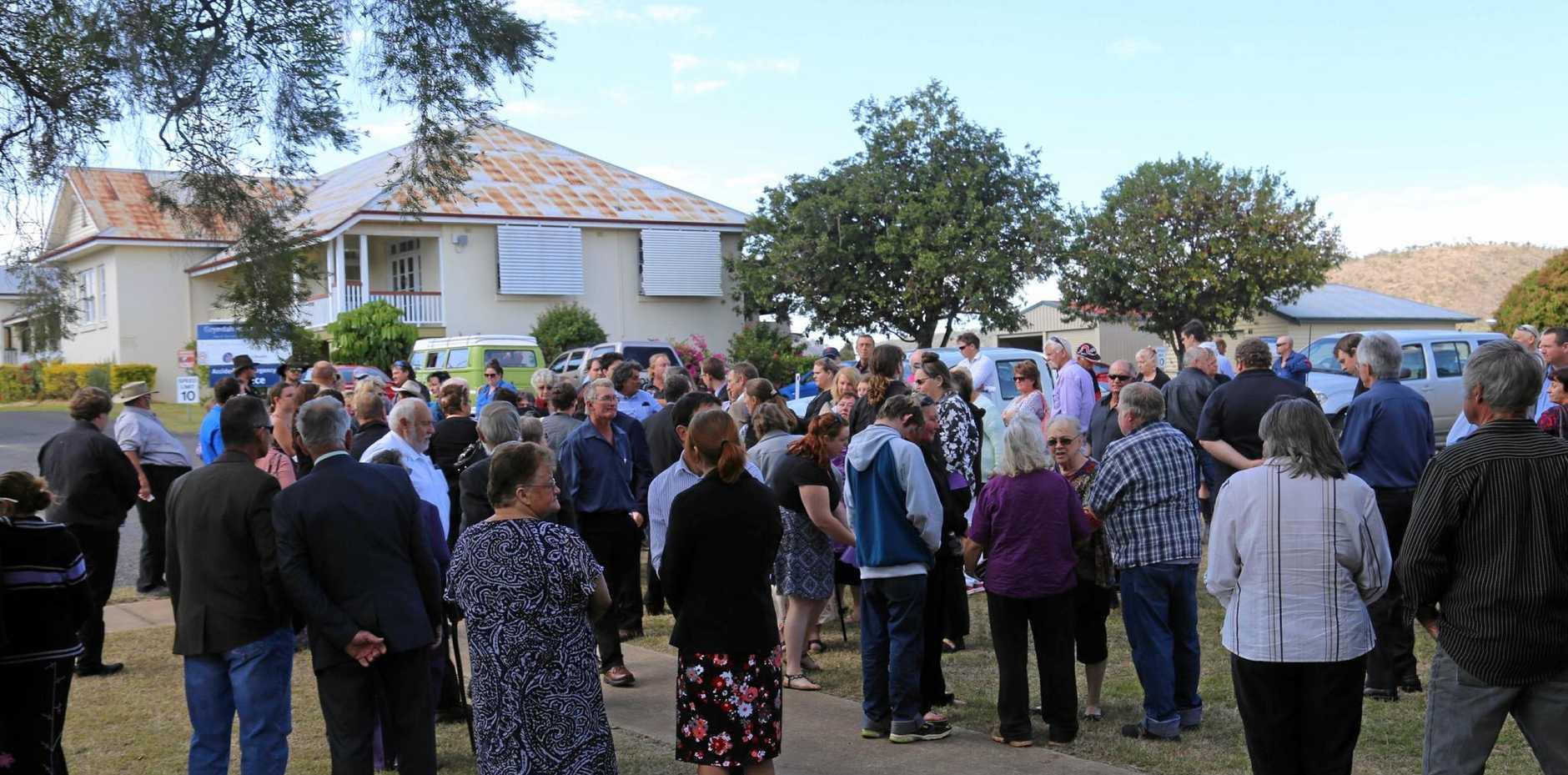 Family and friends gather to remember Gary Ryan at the Gayndah Presbyterian Church.