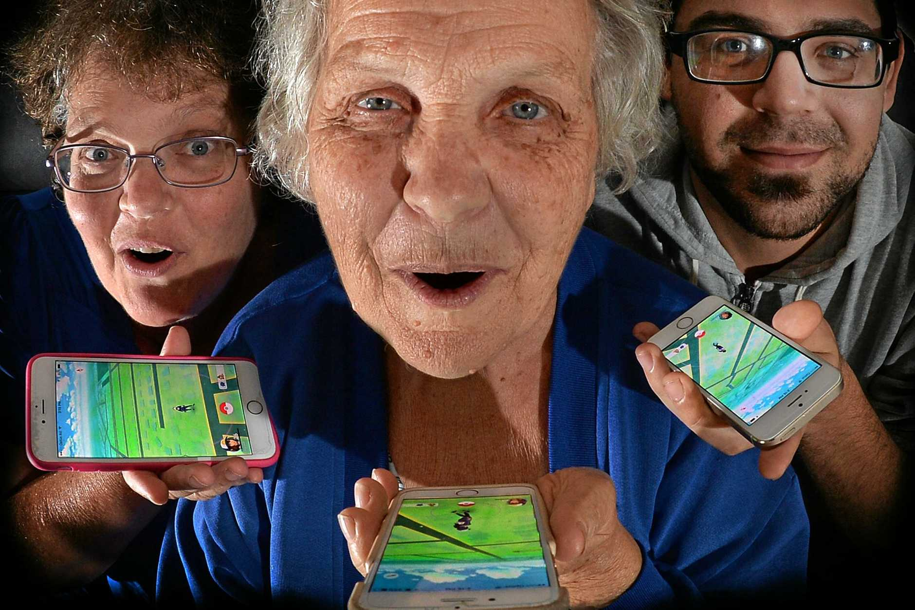 Three generations of Pokemon players Joy, Val at 78 years of age and Greg McKenzie.