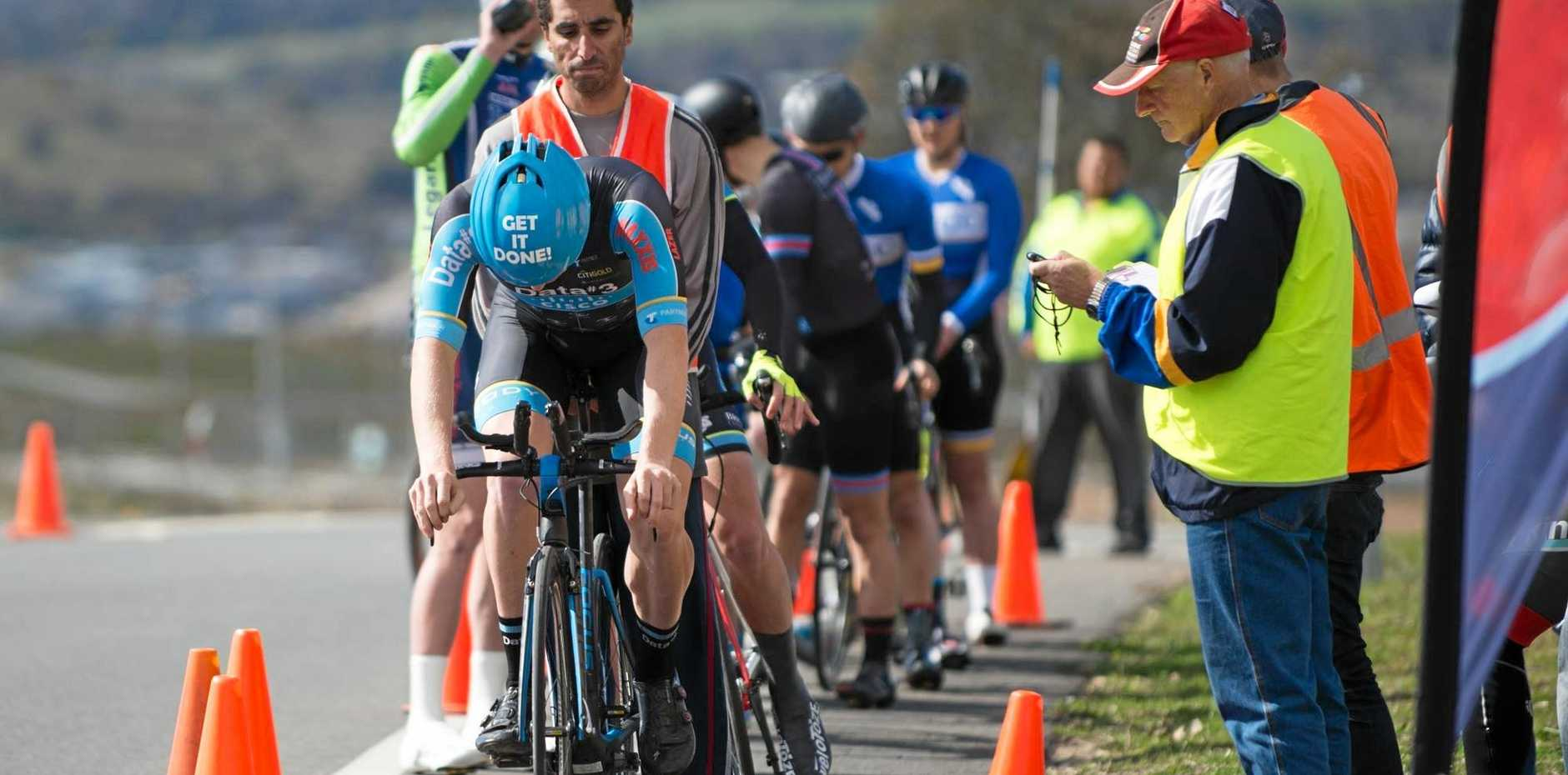 THAT HE DID: Craig Evers bows his head to display his 'Get It Done' motto at the starter's gate of the ACT ITT Championships.