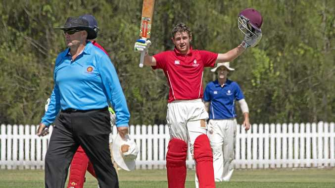 CENTURY: Lachlan Prince celebrates bringing up 100 for Queensland.
