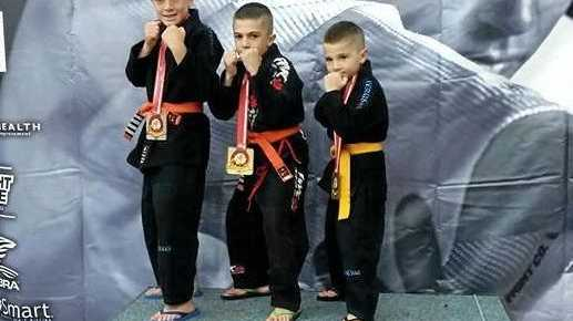 JU JITSU COMPETITORS: Tomas, Thoran and Tyson Shellhammer are tough youngsters.