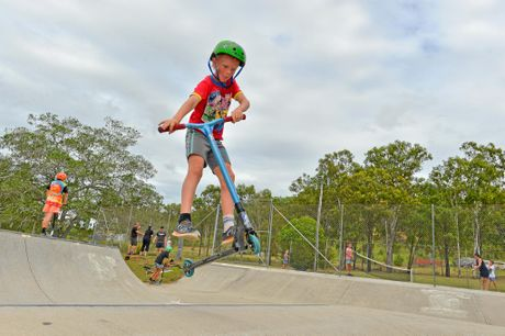 The park already has a range of facilities, including a popular skate bowl. However the council's proposal will mean it's more children and family friendly. Pictured: Jack Isaacs, 10, at the youth week family fun day community event held in Yarwun. Photo Mike Richards / The Observer