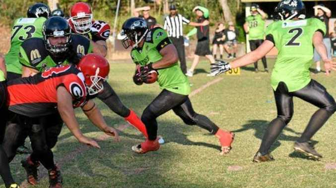 RUNNING HARD: Toowoomba Valleys Vultures running back Ben O'Connor in action this Gridiron Queensland season.