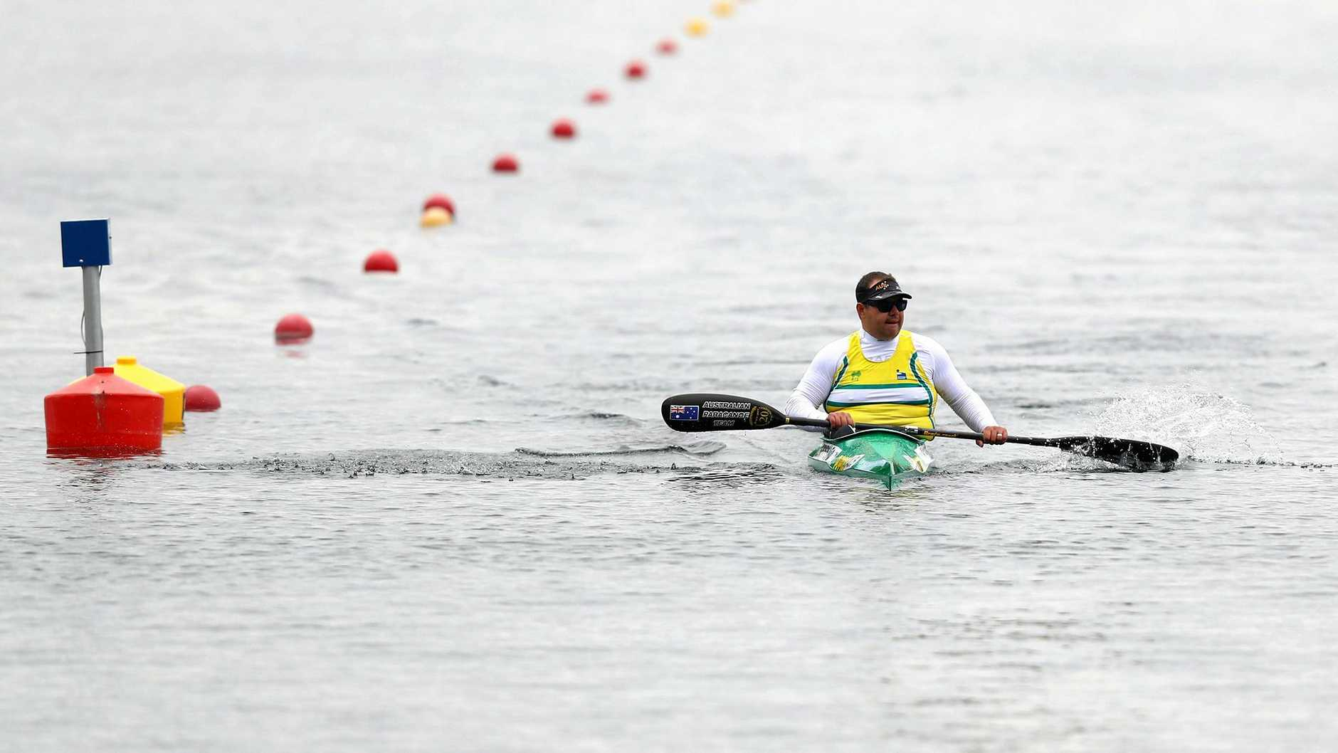 Colin Sieders of Australia looks on after competing in the European canoe sprint Paralympic qualifying event in Duisburg, Germany, in May.