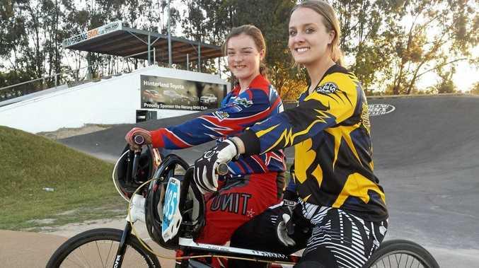 Toowoomba BMX riders Sheridan Flint and Carissa Osborne.