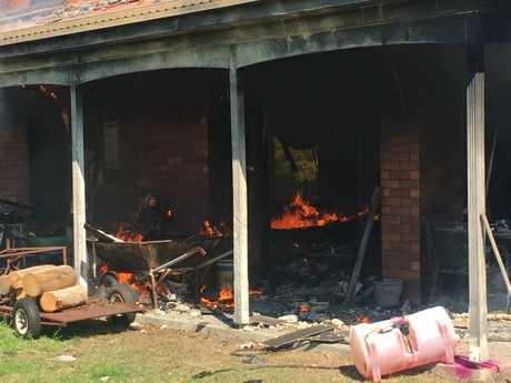 Fire destroys a house in Millmerran.