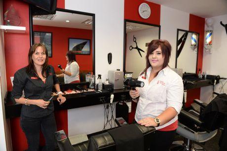 Megan Seller and Tiffiny Evans of Kazza's Barber Shops Mount Pleasant.