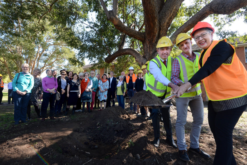 Mayor Jenny Dowell, Lismore Regional Gallery Director Brett Adlington and Page MP Kevin Hogan turn the first sod at the site of the new gallery.