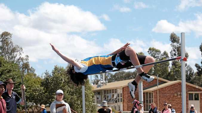 AIR TIME: Miles and District's Rylee Kendrick clears 1.71m and breaks his PB at the high jump South West Track and Field Trials, held at Chinchilla State High School last Thursday and Friday.
