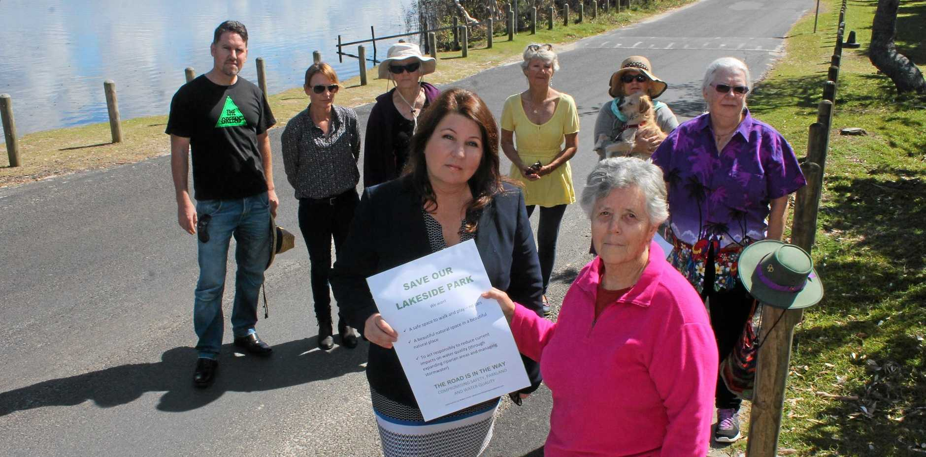SAVE THE PARKLAND: A spokesperson for the Lake Ainsworth Interest Group, Lyn Walker, and other members of organisations which form the group, met with State Member for Ballina Tamara Smith and Greens B Ward council candidate Nathan Cooper (left) at Lake Ainsworth.
