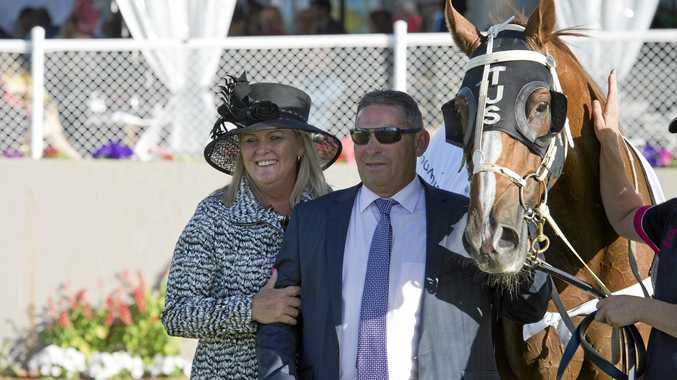 Trainer Tony Sears and his wife Leigh with Weetwood winner Choice Bro.