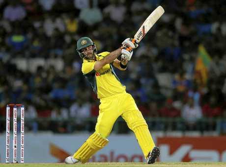 Australia's Glenn Maxwell plays a shot during their first twenty20 cricket match against Sri Lanka in Pallekele, Sri Lanka, Tuesday, Sept. 6, 2016. (AP Photo/Eranga Jayawardena)