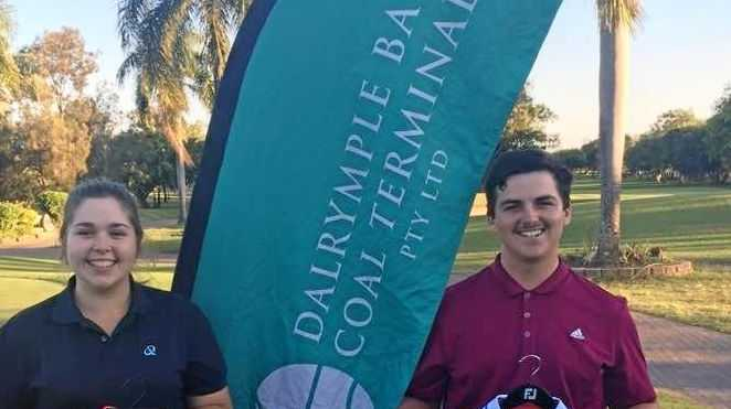 Mackay Golf Club 18-hole Junior champions Renee Ball and Josh Scullie. Results from the 18-hole event will be used for seeding for match play in late October.