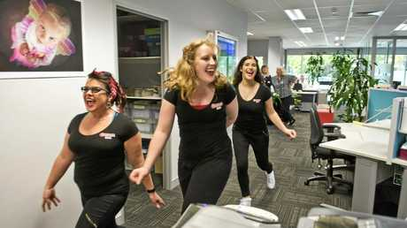 LIGHTNING VISIT: Members from the Grease cast entertaining The Chronicle are (from left) Jenni Potter, Callie Gibbings playing Frenchy and Kristen Nuss.