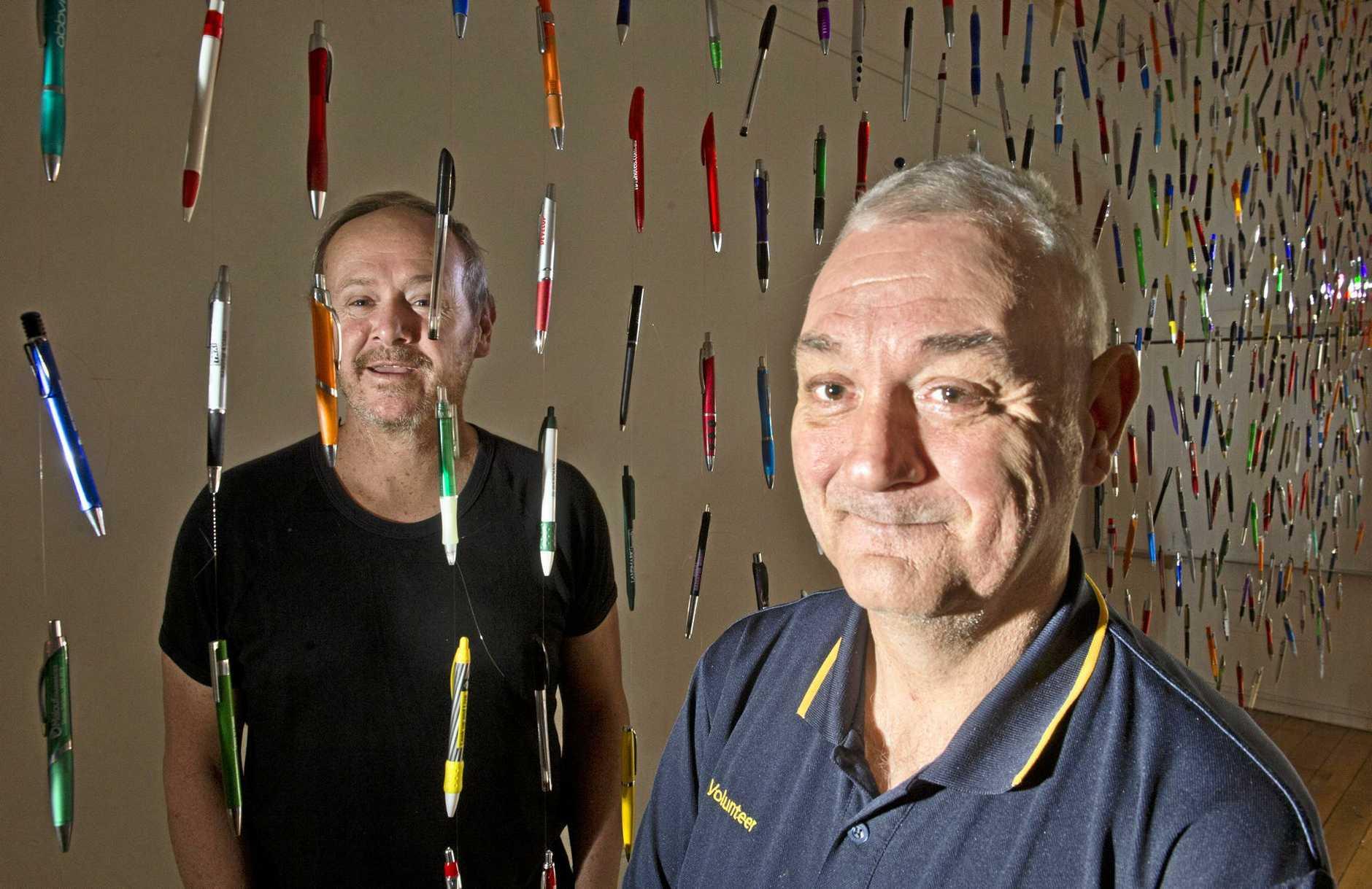 UNIQUE DISPLAY: Artist Sean Humphreys (left) and Steven Wooldridge at Alizarin + C Gallery in Margaret St.