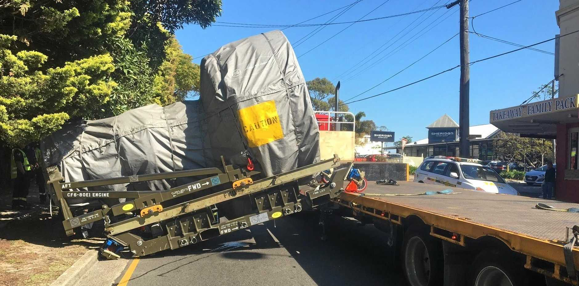 SECURE YOUR LOAD: An aircraft engine has fallen off a trailer in Sydney's south, due to insufficient load restraints.