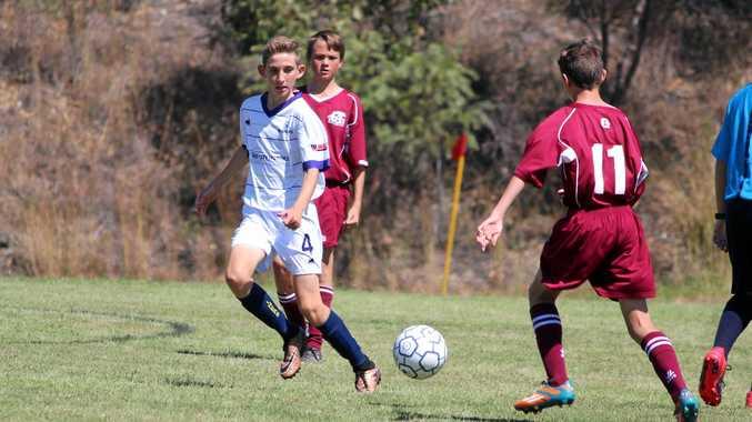 Sean Keech in under 14 soccer against Bundy