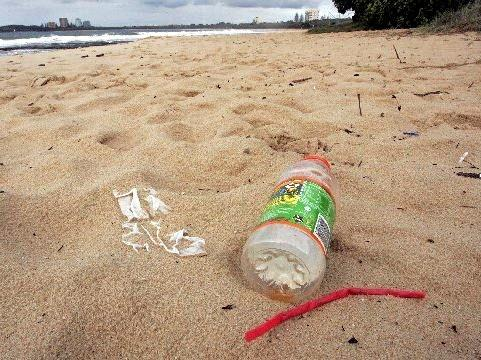 Rubbish left on a beach at Mooloolaba.