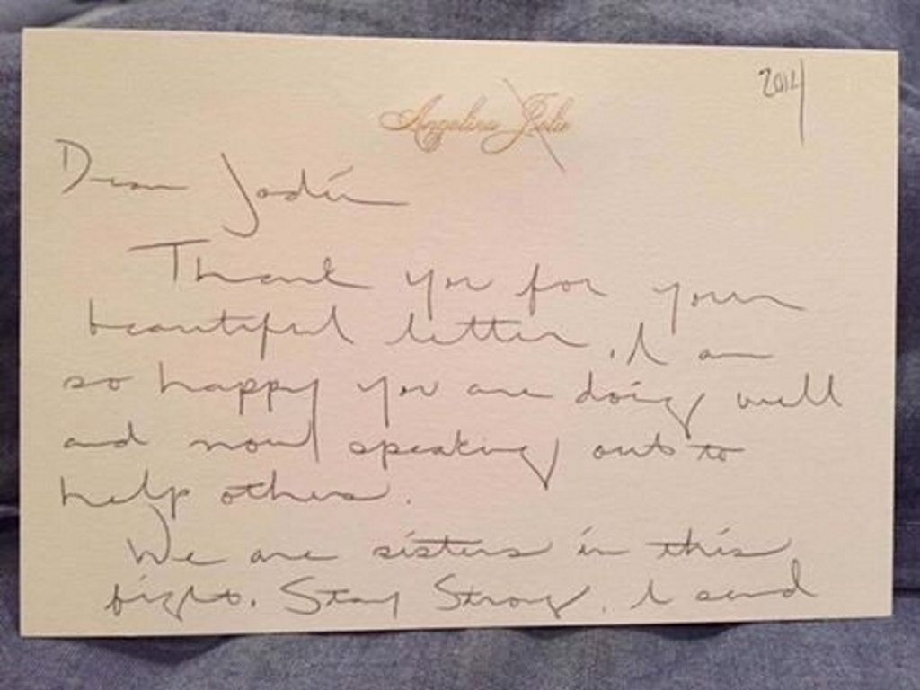Angelina Jolie wrote a letter to Jodie McRae in 2014.