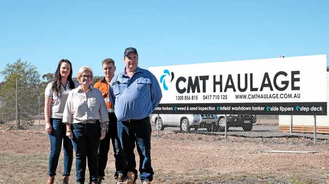 HOME GROWN: CMT Haulage's Sam Garnsey, Mandy Turner, Lance Chapman and Craig Turner outside their new depot on McNulty Street in Miles.
